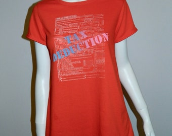 vintage 1980s Pregnancy shirt / TAX Deduction / humor / red trapeze tee shirt XS