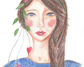 Hearts and Flowers, Print of Original Coloured Pencil Illustration