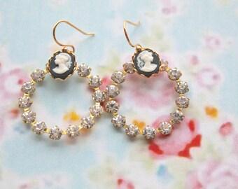 Cameo spherical earrings - gold filled