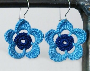 Turquoise and Blue Flower Earrings. Cotton, Lightweight on Sterling Silver