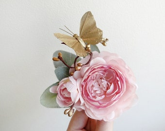 pink hair clip, pink flower hair clip, gold bridal hair piece, bridal flower hair clip, peony hair, floral hair comb, pink and gold wedding