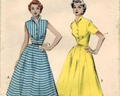 1950s Butterick 6501 Vintage Sewing Pattern Misses Summer Dress Size 12 Bust 30