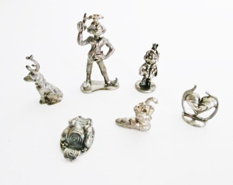 Christmas Monopoly Game Pieces Six Pewter Tokens, Grinch Stole Christmas, Max the Dog, sleigh, stocking, Dr Seuss
