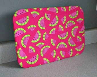 Reusable Fabric 9 x 13 Bakeware Pan Cover-Watermelon.  Perfect for summer festivities; eco-friendly, cotton fabrics, washable