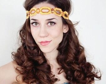 Bohemian Headband, Golden Orange Boho Headband, Boho Headband, Bohemian Headband, Stone  Boho Headband, Hippie Headband, Forehead Headband