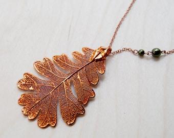 Large Fallen Copper Oak Leaf Necklace - REAL Oak Leaf