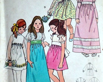 Butterick 6063 Vintage 70's Sewing Pattern, Children's/Girls' Empire Dress, Size 4, Breast 23, Party Dress