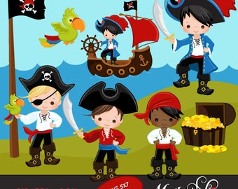 Pirate clipart. Pirates, Ships and Treasure Island Clipart. Captain, treasure chest, island, pirate ship, flag, sailors, pirate kids, parrot