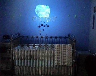 Cloud and stars paper lantern mobile