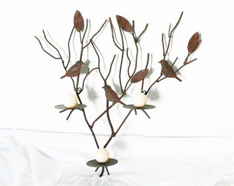 Vintage 70s Large Rustic Metal Bird Leaf Branch Candleholder Wall Sconce Ball Pillar Candles