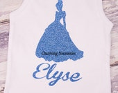 Personalized Glitter Tank Top Inspired by Princess Cinderella by Charming Necessities, Toddler Girl Boutique Clothing Sparkle Shirt