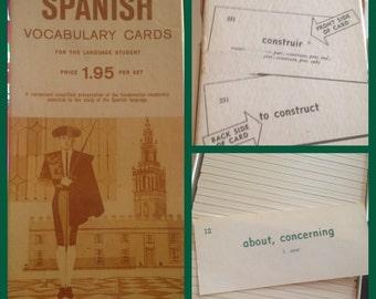 Vintage Box of Spanosh Vocabulary Cards Mixed Media