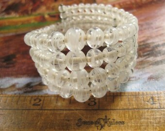 Vintage Bead Wrap Bracelet, Vintage Japan Beads, Glass Swirl Beads Graduated Bracelet Clear White Swirl Beads, Vintage Jewelry Gift Bracelet
