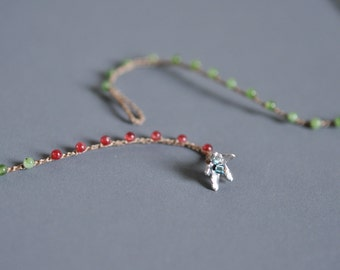 Tiny jade and raspberry gem crocheted lariat necklace with sterling silver flower button closure