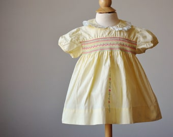 1940s Smocked Country Dress~Size 9 Months