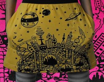 Galaxy Print Cityscape Skirt - Yellow Retro Sci Fi silk screen pencil skirt 50s sci fi screen print mini skirt a line retro futurism Short