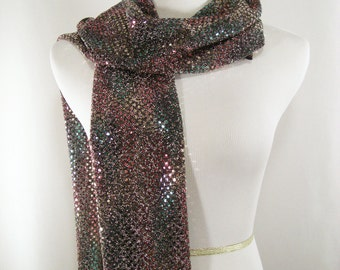 Holiday - Party Scarf -  Scarf - Multi Colored Sequin Scarf - Shiny Multi Color Gold Sequin Scarf - Dressy Long Scarf - Sequin Wrap