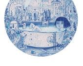Blue Bath - blank greeting card