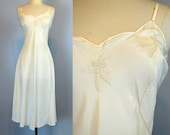 Ivory Silky Slip ~ Vintage 30s Bias Cut Embroidered Nightgown L ~ Deadstock