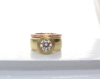 Sunken Treasure Ring, 18kt gold wide band diamond engagement wedding ring