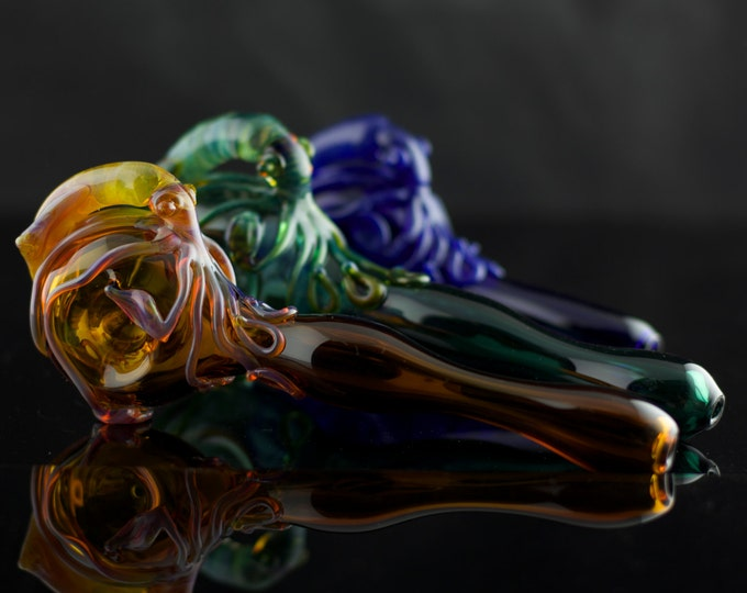 Squid Glass Pipe / Cephalopod / Large Spoon Pipe / Glass Spoon Pipe / Smoking Pipe / Thick Wall Pipe / You Choose the Color / Made to Order