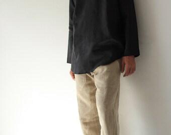 100% Linen long sleeve men's shirt (5705)