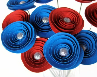 One Dozen Spiral Paper Roses - Glitter Centers - With Stems - Pick Your Own Colors
