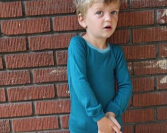 Raglan Wool Kids Long Undershirt - Long Sleeved Merino - Custom CRESTED LARK Sizes 1 to 6 T
