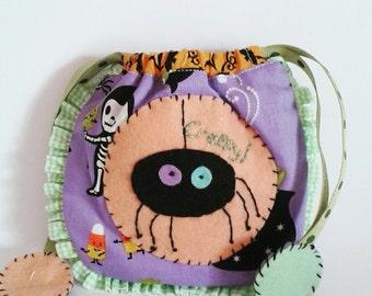 Drawstring Bag trick or treat spider