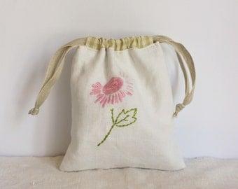 Drawstring bag vintage embroidered flower linen
