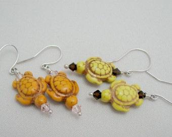Turtle Earrings Yellow Orange Dyed Howlite Sterling Silver Dangle Drop Earrings Swarovski Crystal Accents