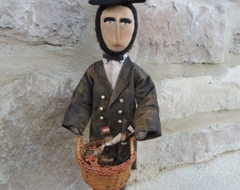 Original Patriotic Primitive Abe Lincoln Doll with Little Able Lincoln in Basket Folk Art