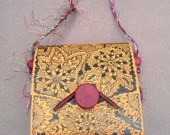 Small Wood Handbag with Ink Drawing of Flowers and Doodles