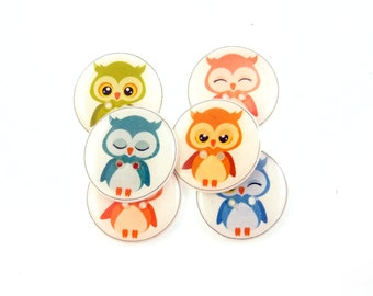 """6 LARGE Assorted Owl Buttons.  7/8"""" or 23 mm handmade buttons.  Decorative Sewing Buttons."""