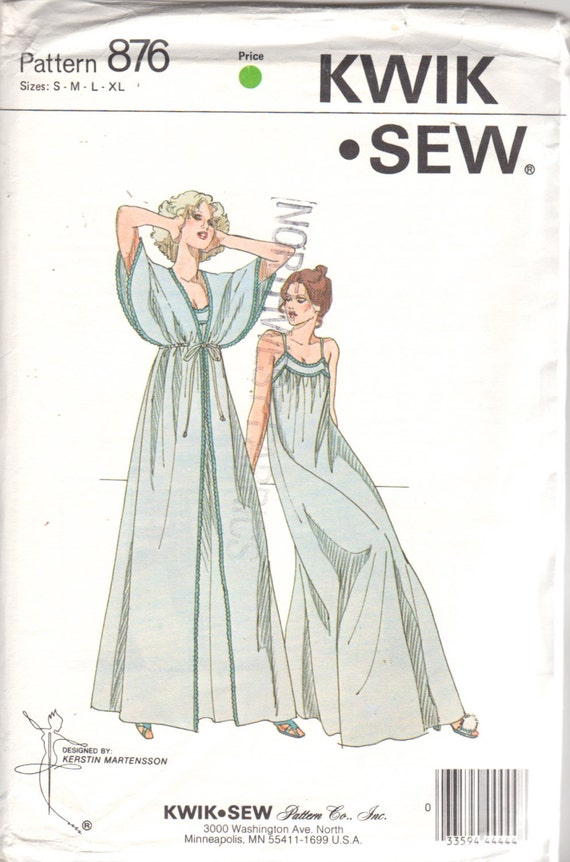Kwik Sew 876 1970s Misses Kimono Sleeve Peignoir and Nightgown Pattern Womens Vintage Sewing Patterns Size S M L XL Bust 32 - 45 UNCUT