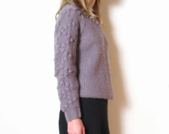 purple BOBBLE KNIT chunky sweater, s