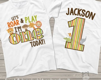 zoo / jungle theme First 1st birthday shirt - let's roar and play i'm one today lion tiger giraffe elephant alligator shirt MBD-024