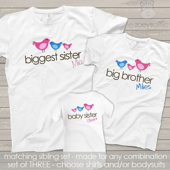 Matching Sibling Shirts-big middle little sisters (or brother) sibling set with cute birds MAB1-002-004