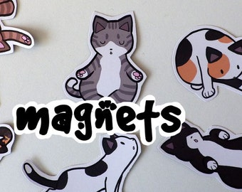 Cute Yoga Cat Magnets! Pack of 8 - Custom Made to Order