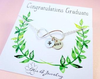 Personalized Graduation gift, Infinity bracelet with initial, class of 2015, Initial bracelet, graduation card, briguysgirls, otis b jewelry