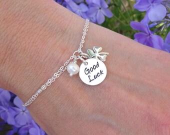 Good Luck Bracelet, Graduation gift for her, College graduation, shamrock charm, sterling silver, gifts for grads, graduate gift, otis b