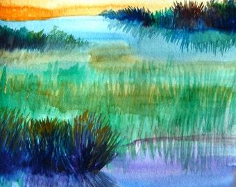 "Watercolor Landscape Painting, Original Art, Meadow, Field, 11""x15"""