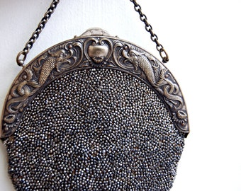 Edwardian French Cut Steel Beaded Purse // Antique Art Nouveau Deerskin Bag // 1800s Ornate Frame