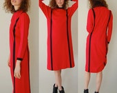 Urban Vintage 80s Red and Black Striped Urban Glam Knit Shift Dress (s m)