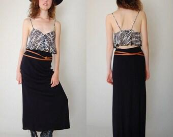 Draped Maxi Skirt Vintage 80s Black Noir Draped Sweater Knit Urban Boho Maxi Skirt (s m)
