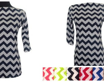 Chevron  -Designer Womens Classic Boatneck Top-Choose Your Color
