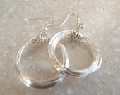 Sterling Silver Hoop Earrings, Modern Silver Hoop Earrings