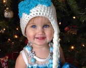 Crocheted White Princess Wig with Braid and Snowflake, Fits Toddler-Adult
