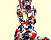 Yoga Art -- Acrylic Painting, Gomukhasana