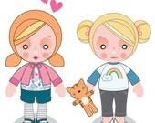 Printable PDF - Ginger & Blondie Paper Dolls